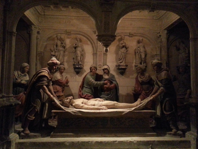 The beautifully carved stone Holy Sepulchre in the crypt.
