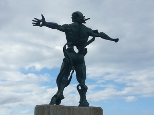 The half-man statue at Suances