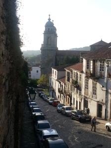 Looking down street