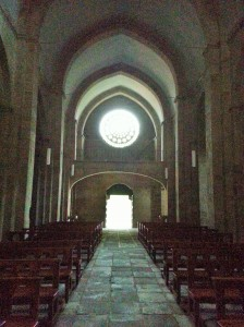 Looking back at the gothic rose window.