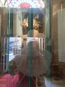 My reflection in the chapel door, complete with St James regalia.