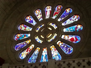 More jewel hues, in the sapphire rose window