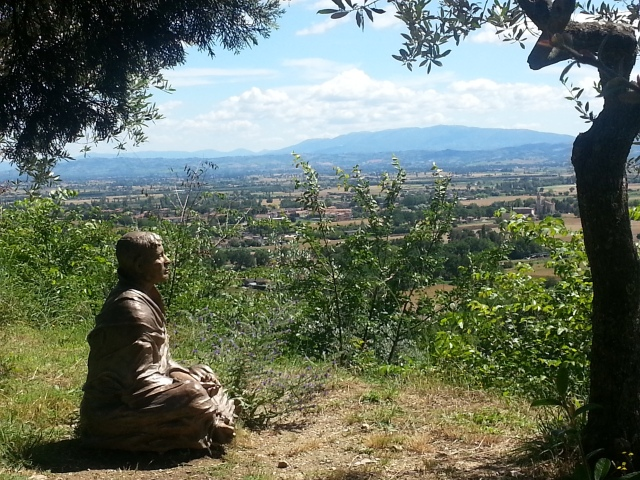 Francis overlooking Umbria from San Damiano